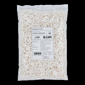 1000 Leerkapseln, Größe 00, vegan Hartkapsel, weiß