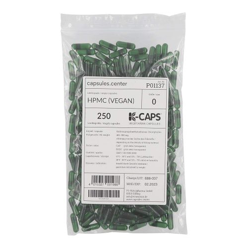 250 Leerkapsel grün transparent Größe 0
